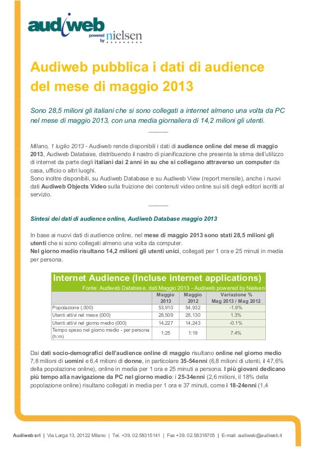 Audiweb srl | Via Larga 13, 20122 Milano | Tel. +39. 02.58315141 | Fax +39. 02.58318705 | E-mail: audiweb@audiweb.it Audiw...