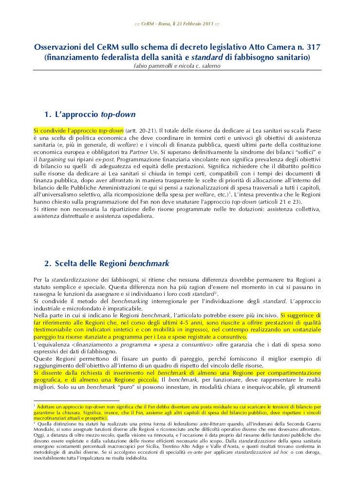 ::: CeRM - Roma, lì 23 Febbraio 2011 :::Osservazioni del CeRM sullo schema di decreto legislativo Atto Camera n. 317  (fin...