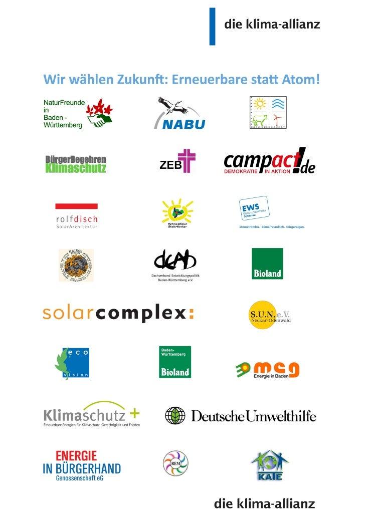 Wir wählen Zukunft: Erneuerbare statt Atom!Für konsequenten Klimaschutz, Lebensqualität und zukunftssichere Arbeitsplätze ...