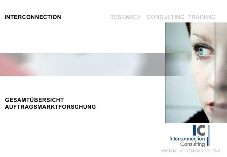 INTERCONNECTION RESEARCH  CONSULTING  TRAINING WIEN MÜNCHEN BARCELONA GESAMTÜBERSICHT  AUFTRAGSMARKTFORSCHUNG