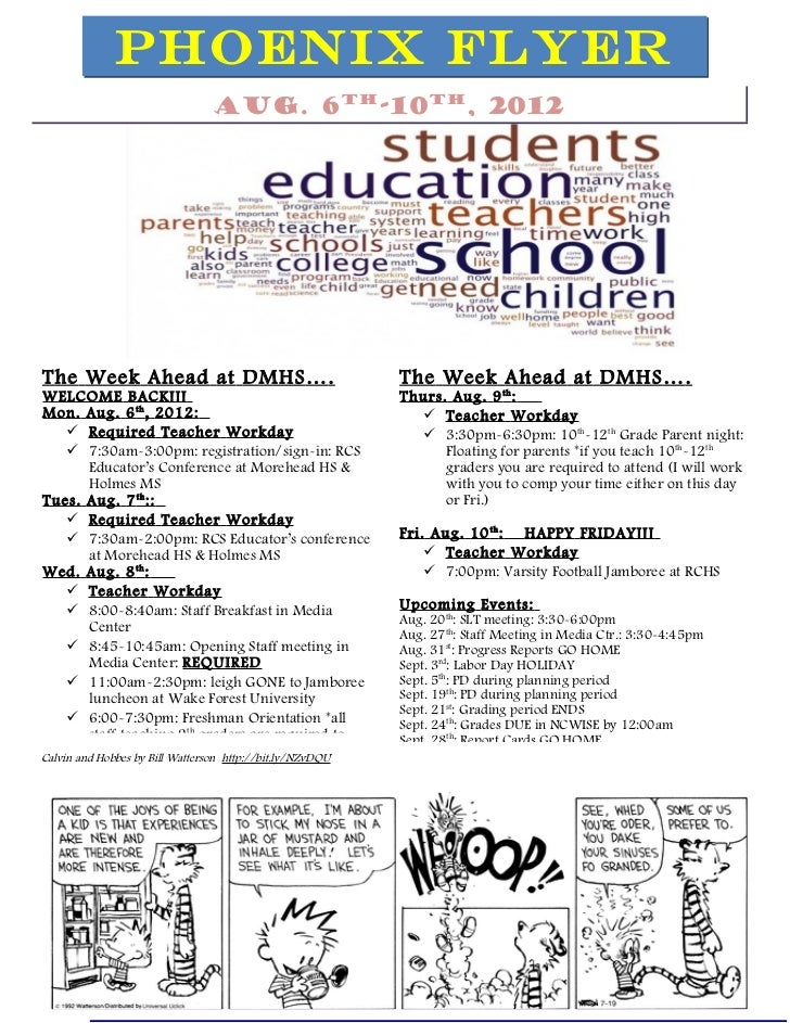 PHOENIX FLYER                                 Aug. 6th-10th, 2012The Week Ahead at DMHS … .                               ...