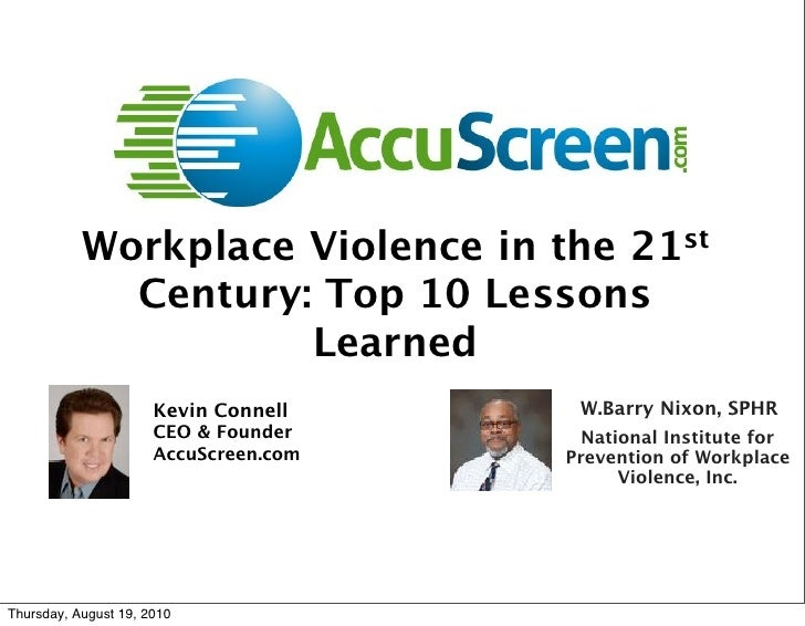 Workplace Violence in the 21st              Century: Top 10 Lessons                      Learned                       Kev...