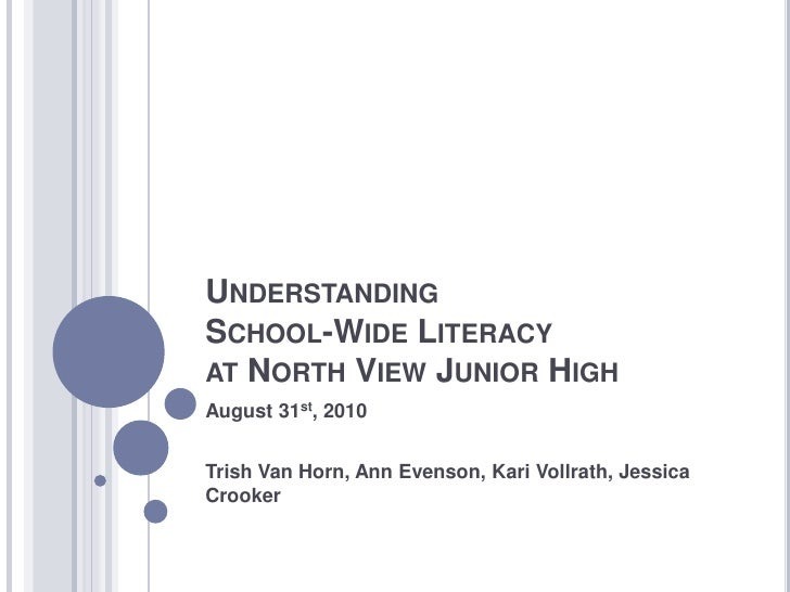 Understanding School-Wide Literacy at North View Junior High<br />August 31st, 2010<br />Trish Van Horn, Ann Evenson, Kari...