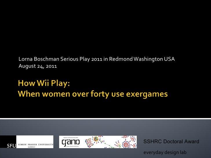 Lorna Boschman Serious Play 2011 in Redmond Washington USA August 24, 2011 everyday design lab SSHRC Doctoral Award