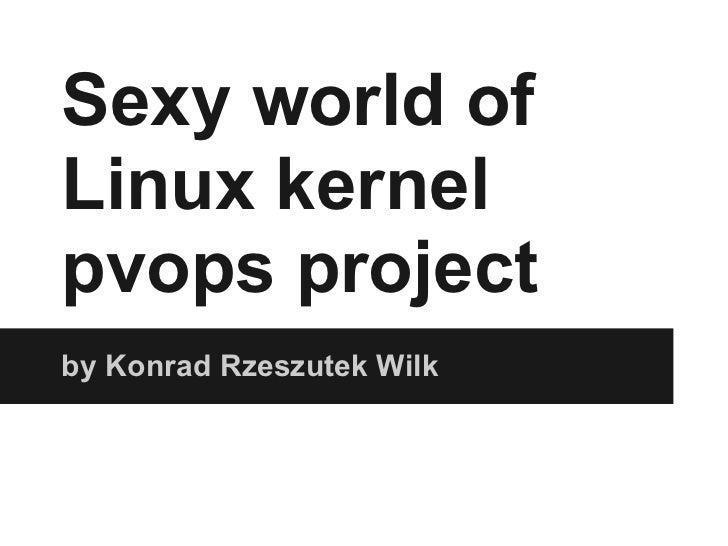Sexy world ofLinux kernelpvops projectby Konrad Rzeszutek Wilk