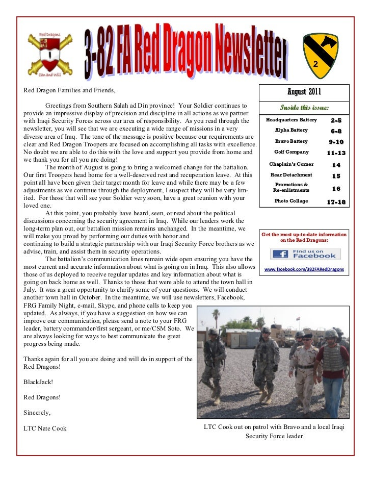 Aug Battalion Newsletter