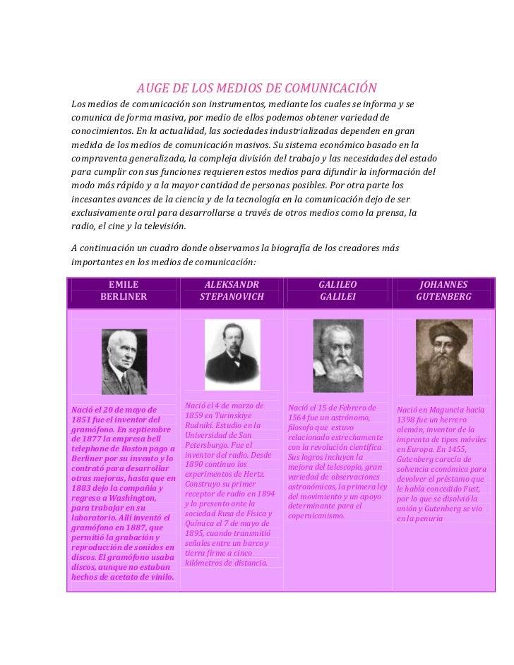 AUGE DE LOS MEDIOS DE COMUNICACIÓN<br />Los medios de comunicación son instrumentos, mediante los cuales se informa y se c...