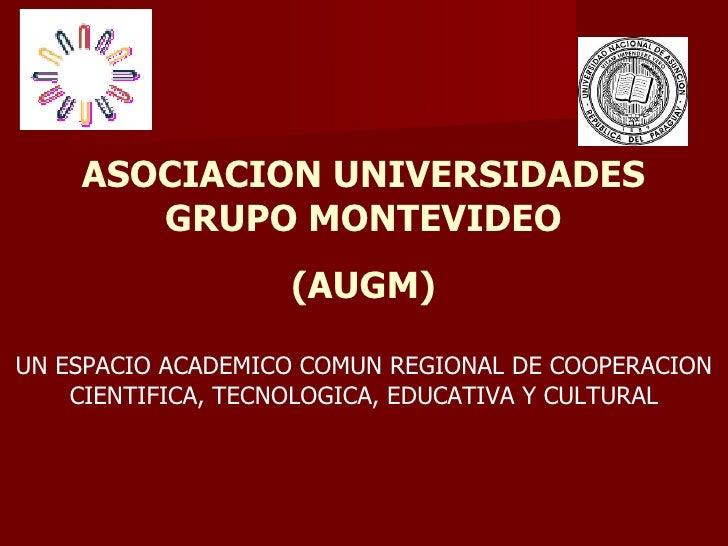 ASOCIACION UNIVERSIDADES GRUPO MONTEVIDEO (AUGM) UN ESPACIO ACADEMICO COMUN REGIONAL DE COOPERACION CIENTIFICA, TECNOLOGIC...