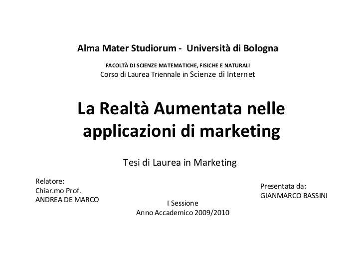 Alma Mater Studiorum - Università di Bologna                   FACOLTÀ DI SCIENZE MATEMATICHE, FISICHE E NATURALI         ...
