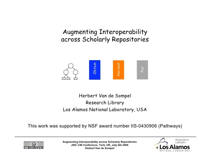 Augmenting Interoperability               across Scholarly Repositories                                                   ...