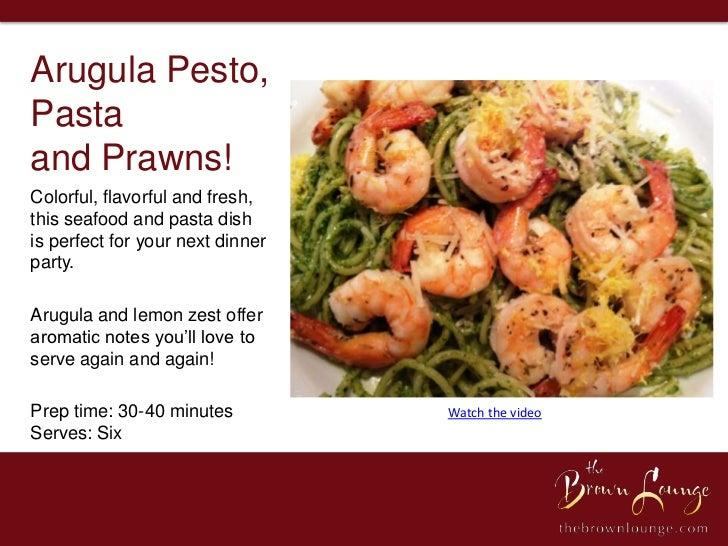 Arugula Pesto, Pasta and Prawns Recipe