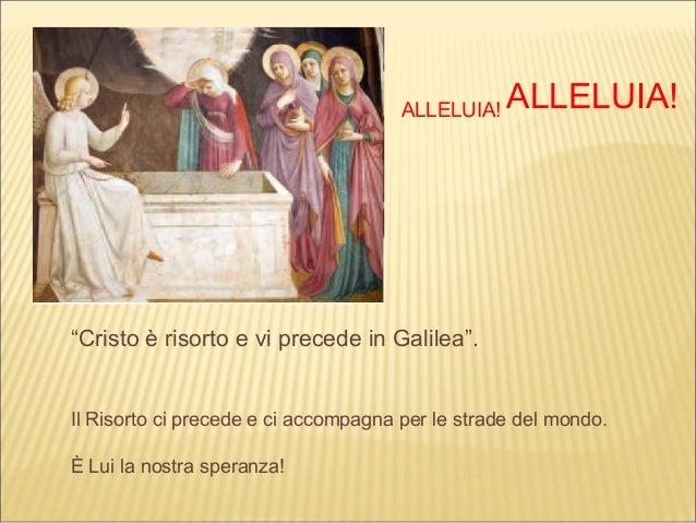 """ALLELUIA!   ALLELUIA!""""Cristo è risorto e vi precede in Galilea"""".Il Risorto ci precede e ci accompagna per le strade del mo..."""