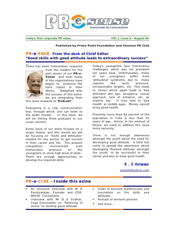 India's first corporate PR ezine                        VOL 1 Issue 6 - August 06                       Published by Prime...