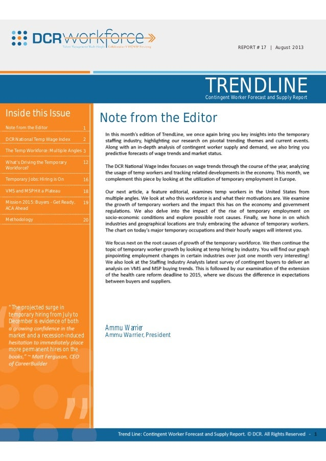 DCR Trendline August 2013 – Contingent Worker Forecast and Supply Report