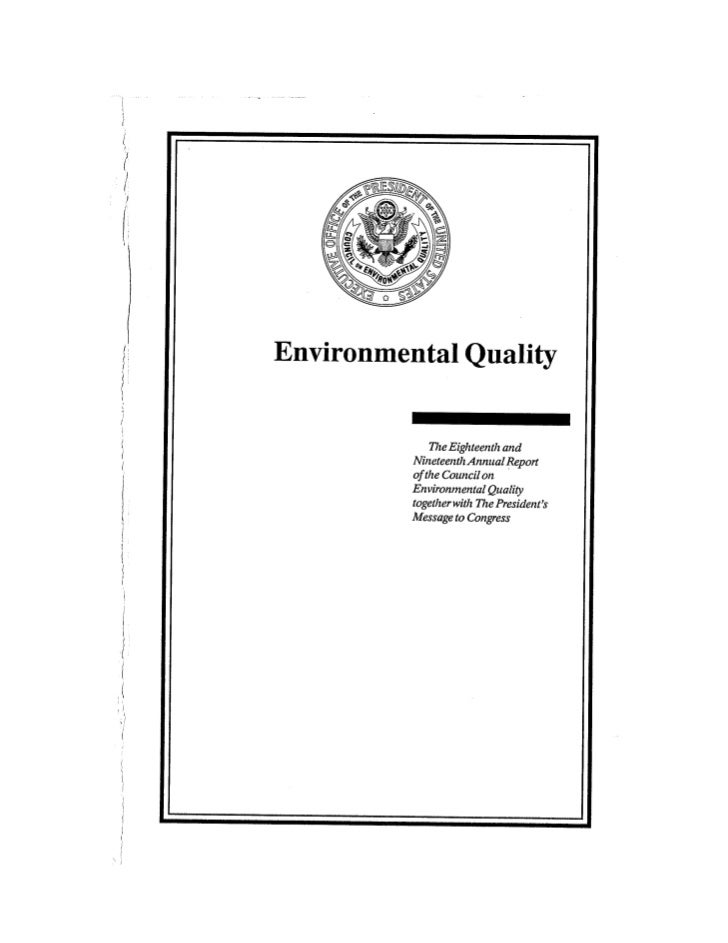 August 1987 1988 The Eighteenth Annual Report Of The Council on Environmental Quality