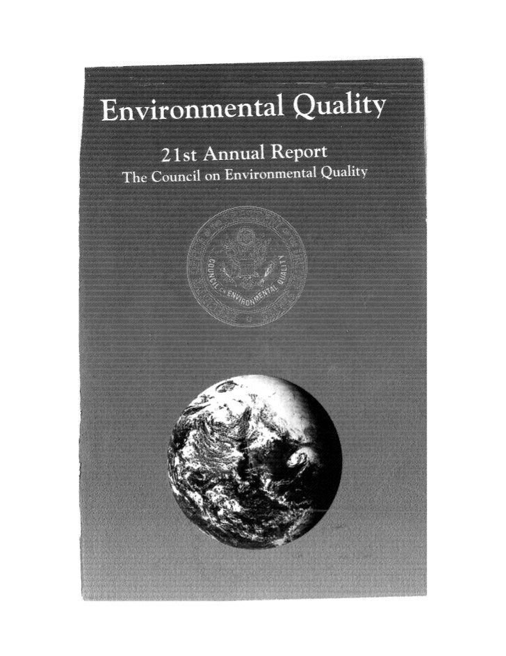 August 1990 The 21st Annual Report Of The Council On Environmental Quality