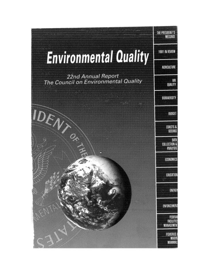 August 1991 The 22nd Annual Report Of The Council On Environmental Quality
