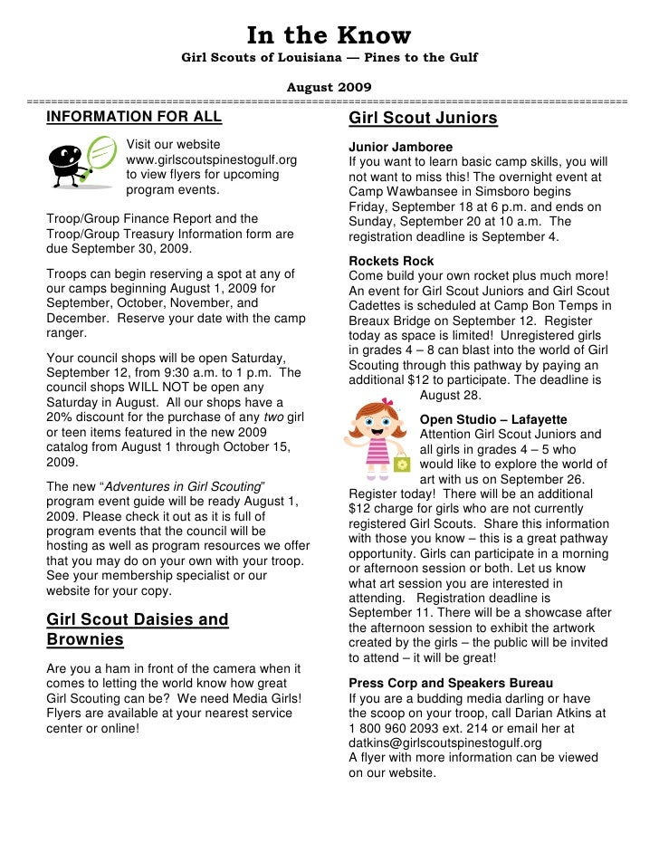 In the Know                           Girl Scouts of Louisiana — Pines to the Gulf                                        ...