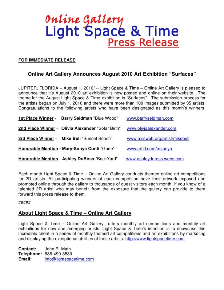 "FOR IMMEDIATE RELEASE       Online Art Gallery Announces August 2010 Art Exhibition ""Surfaces""  JUPITER, FLORIDA – August ..."