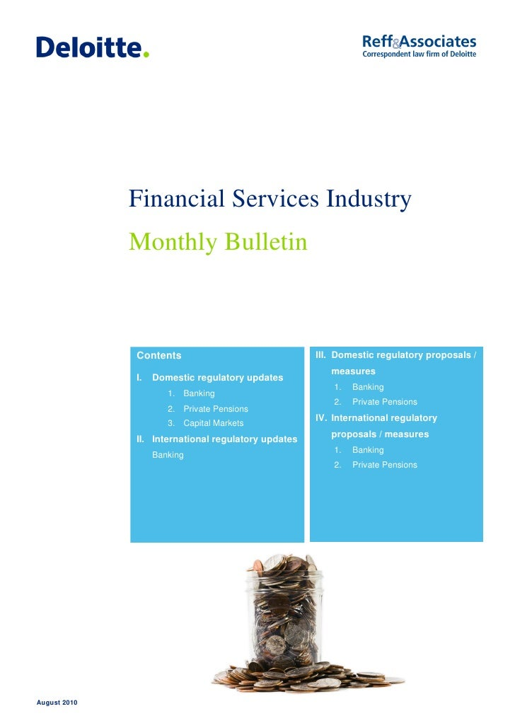August 2010 Financial Services Industry Monthly