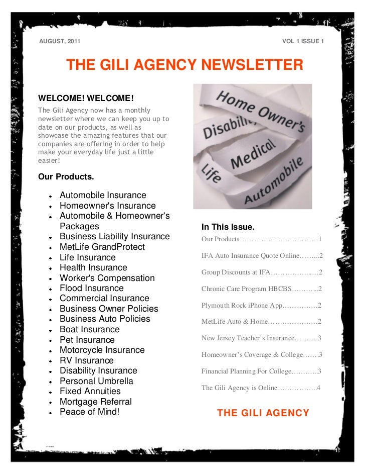 AUGUST, 2011                                                      VOL 1 ISSUE 1        THE GILI AGENCY NEWSLETTERWELCOME! ...