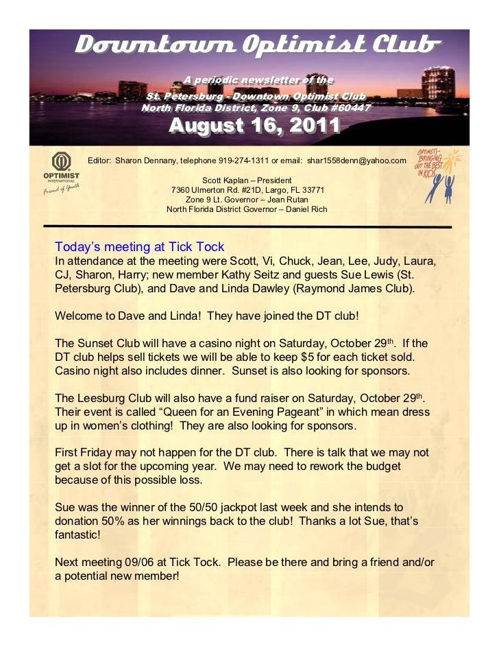 August 2011 newsletter
