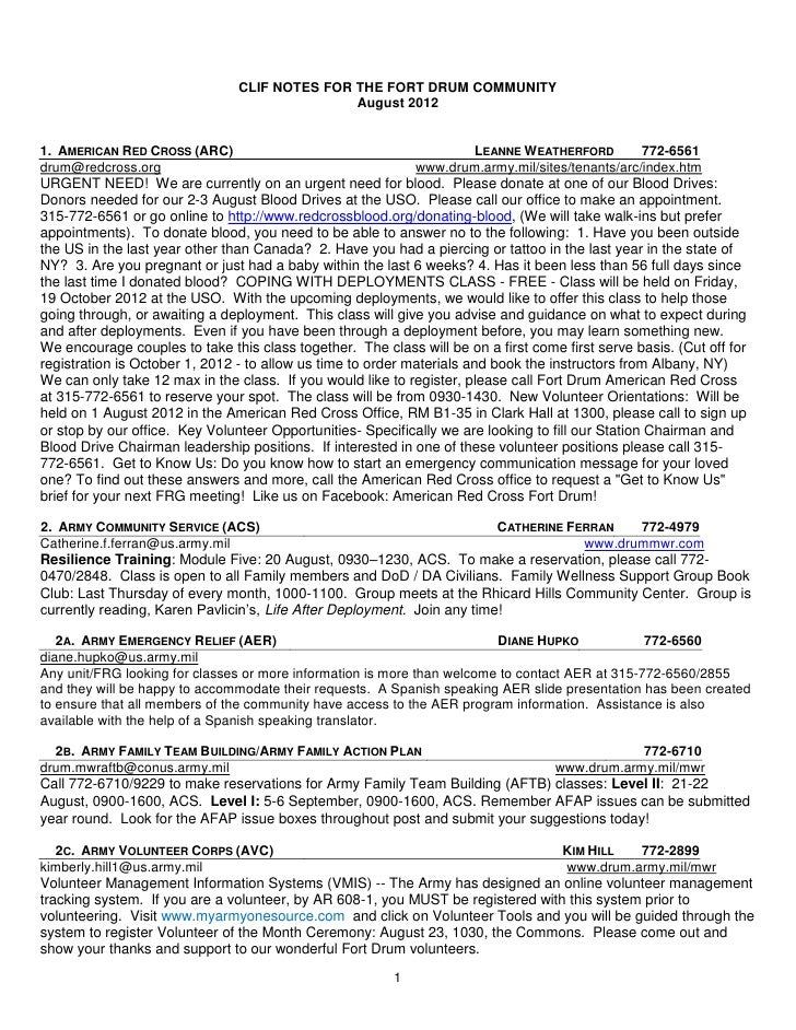 CLIF NOTES FOR THE FORT DRUM COMMUNITY                                               August 20121. AMERICAN RED CROSS (ARC...