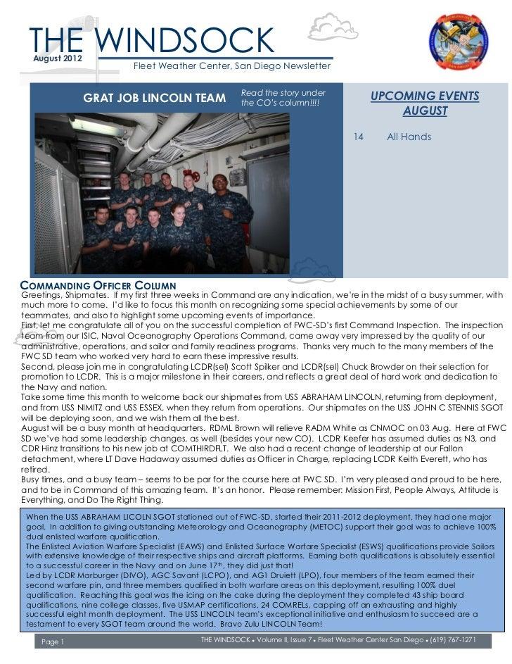 THE WINDSOCK  August 2012                             Fleet Weather Center, San Diego Newsletter                          ...