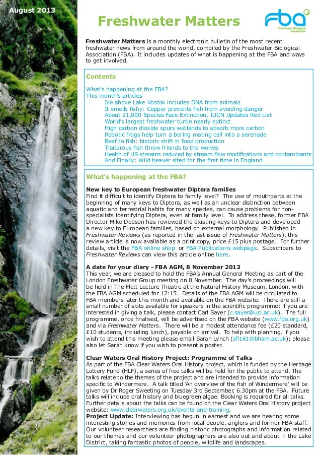 Freshwater Matters What's happening at the FBA? New key to European freshwater Diptera families Find it difficult to ident...