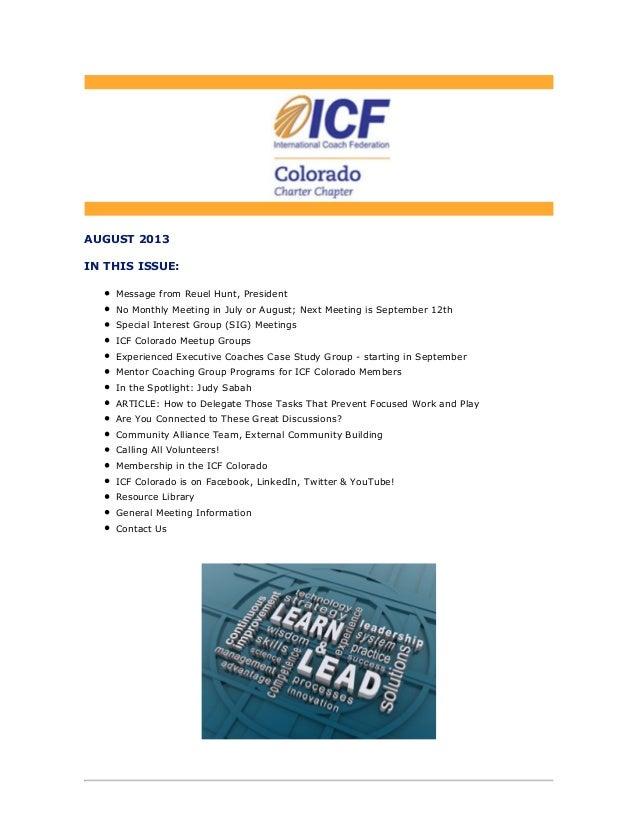 ICF Colorado Newsletter August 2013