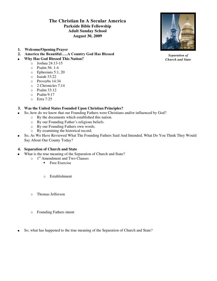 5162550-133350The Christian In A Secular AmericaParkside Bible FellowshipAdult Sunday School<br />August 30, 2009<br />1. ...