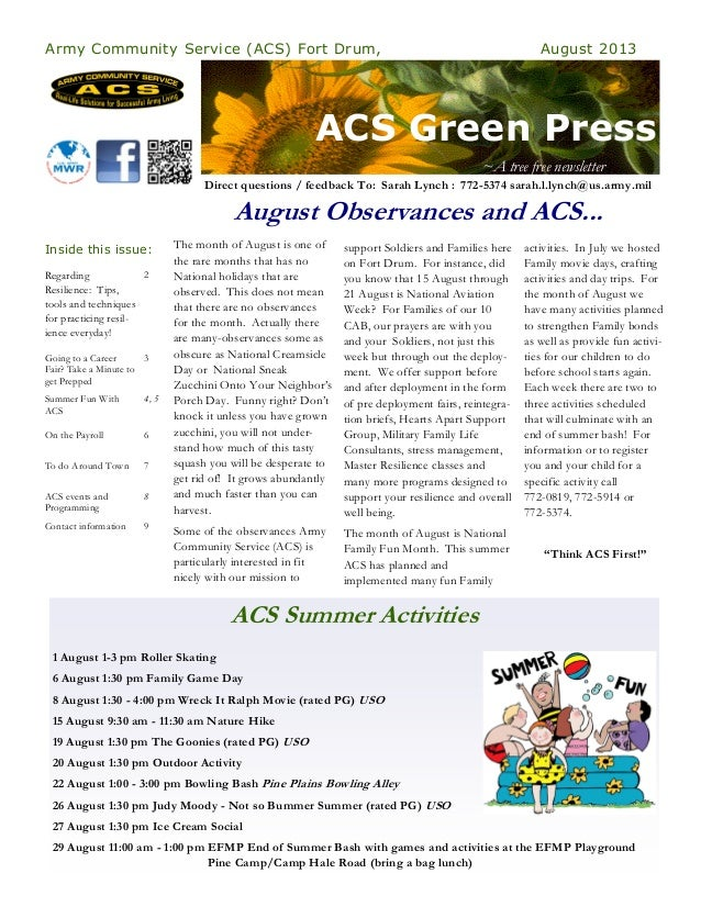 ACS Green Press Army Community Service (ACS) Fort Drum, August 2013 Regarding Resilience: Tips, tools and techniques for p...
