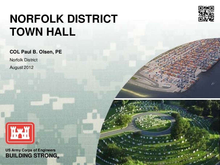 NORFOLK DISTRICT  TOWN HALL  COL Paul B. Olsen, PE  Norfolk District  August 2012US Army Corps of EngineersBUILDING STRONG®