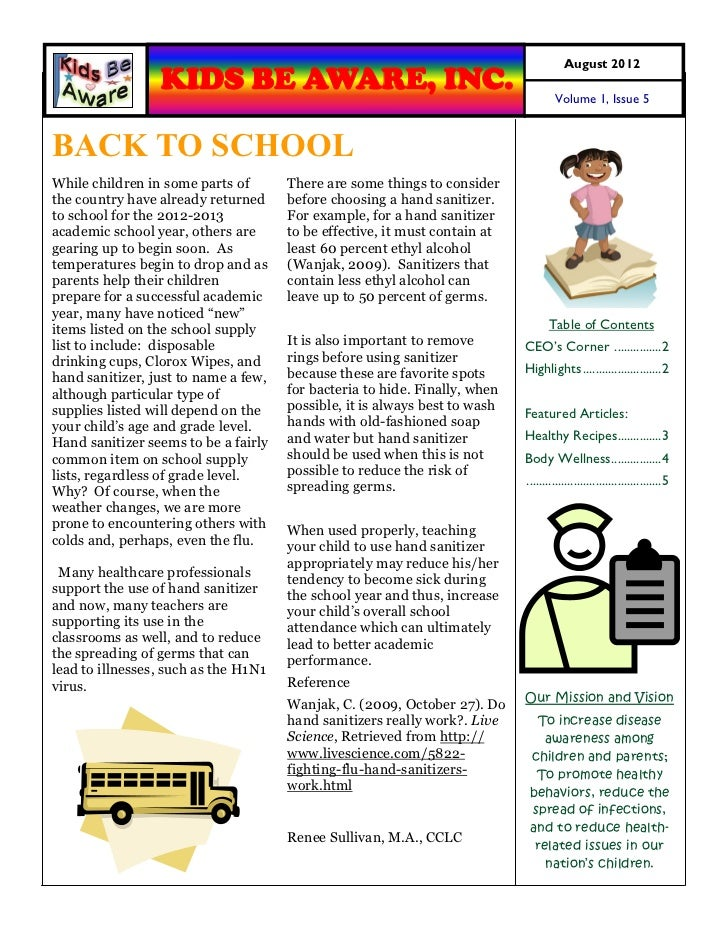 August 2012                 KIDS BE AWARE, INC.                                                 Volume 1, Issue 5BACK TO S...