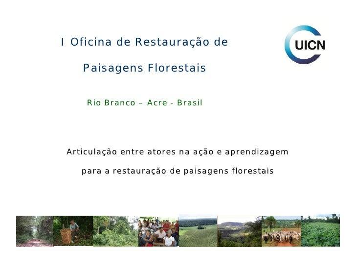 I Oficina de Restauração de     Paisagens Florestais       Rio Branco – Acre - Brasil     Articulação entre atores na ação...