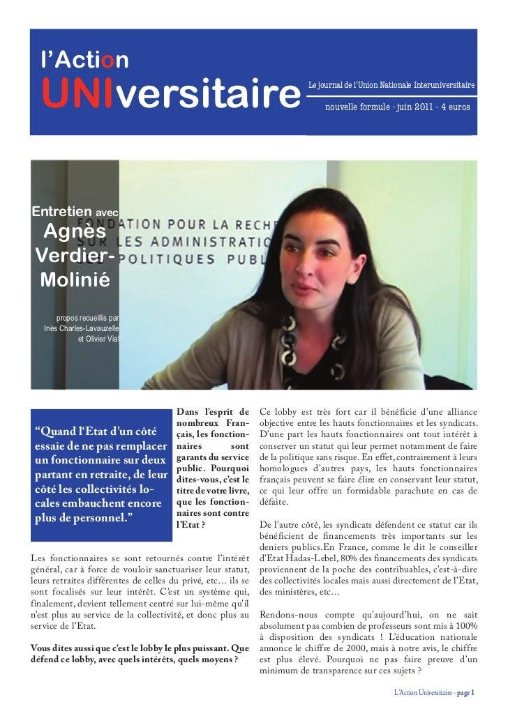 l'Action  UNIversitaire                                                             Le journal de l'Union Nationale Interu...