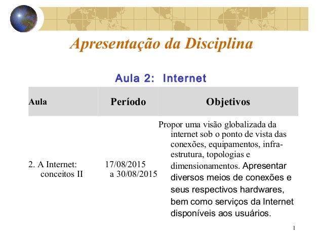 1 Apresentação da Disciplina Aula Período Objetivos 2. A Internet: conceitos II 17/08/2015 a 30/08/2015 Propor uma visão g...