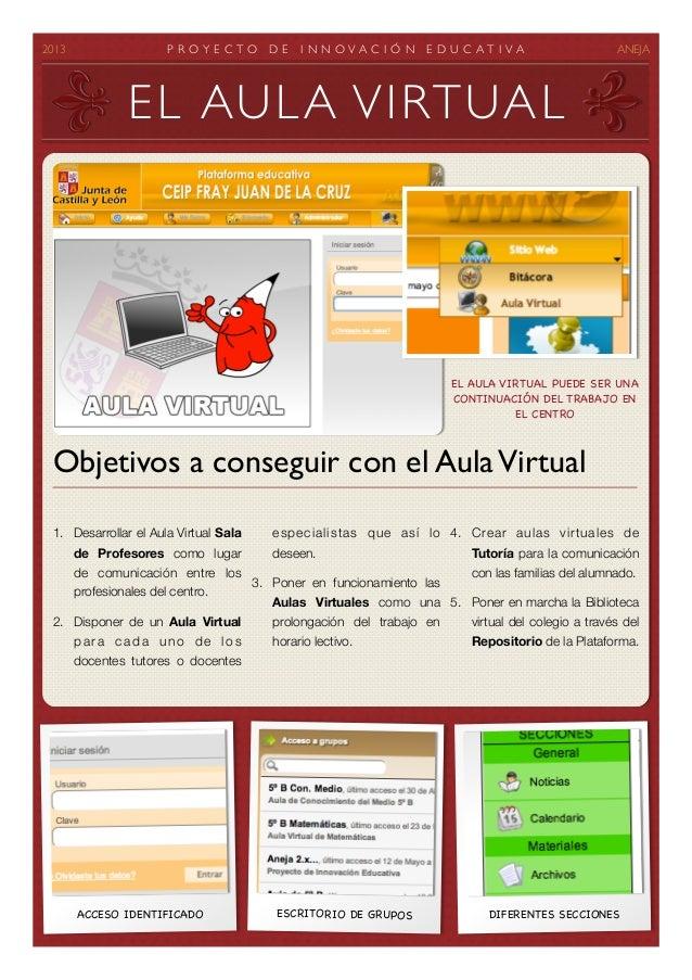 2013 P R O Y E C T O D E I N N O V A C I Ó N E D U C A T I V A ANEJA1. Desarrollar el Aula Virtual Salade Profesores com...