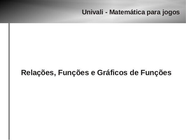 Univali - Matemática para jogos  Relações, Funções e Gráficos de Funções