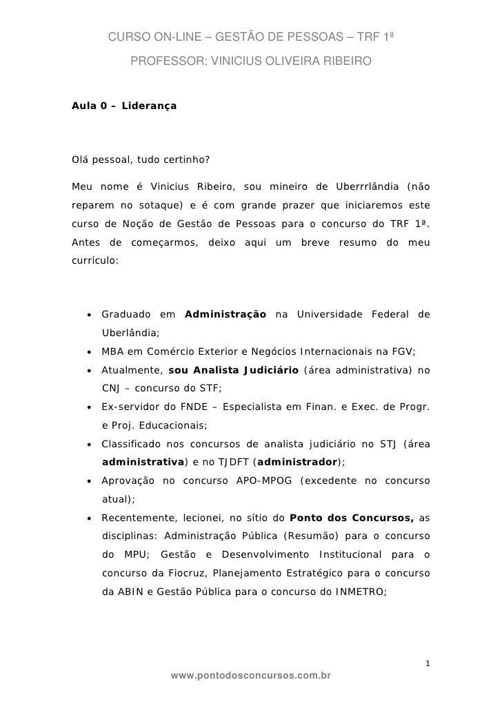 CURSO ON-LINE – GESTÃO DE PESSOAS – TRF 1ª             PROFESSOR: VINICIUS OLIVEIRA RIBEIROAula 0 – LiderançaOlá pessoal, ...