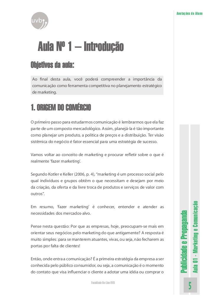 Anotações do Alunouvb   Aula Nº 1 – IntroduçãoObjetivos da aula:Ao final desta aula, você poderá compreender a importância...
