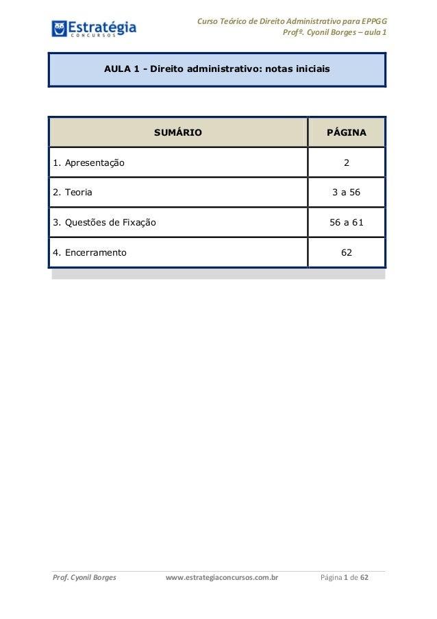 Curso Teórico de Direito Administrativo para EPPGG Profº. Cyonil Borges – aula 1 Prof. Cyonil Borges www.estrategiaconcurs...