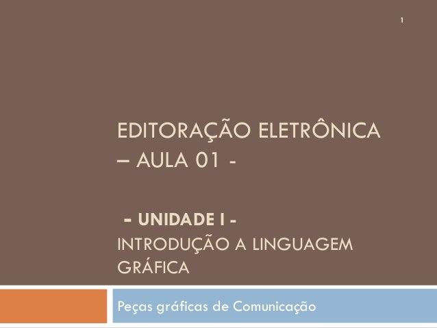 1EDITORAÇÃO ELETRÔNICA– AULA 01 -- UNIDADE I -INTRODUÇÃO A LINGUAGEMGRÁFICAPeças gráficas de Comunicação