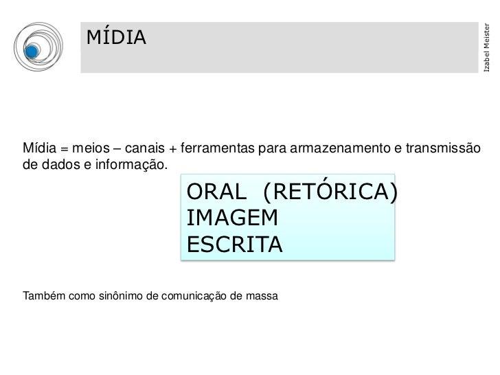 Izabel Meister          MÍDIA          TIPOGRAFIA                                          03Mídia = meios – canais + ferr...