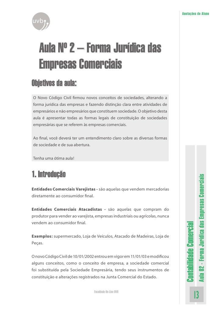 Anotações do Aluno uvb        Aula Nº 2 – Forma Jurídica das     Empresas Comerciais Objetivos da aula: O Novo Código Civi...