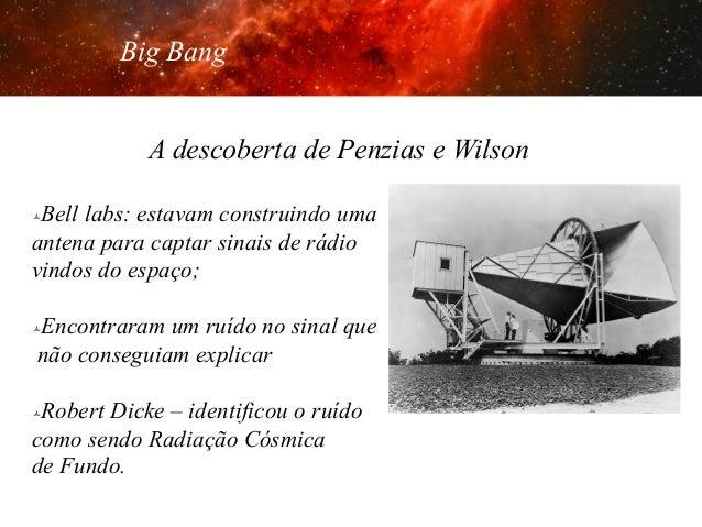 Big Bang A descoberta de Penzias e Wilson Bell labs: estavam construindo uma antena para captar sinais de rádio vindos do ...