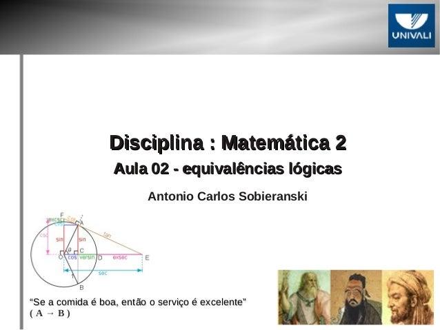 DDiisscciipplliinnaa :: MMaatteemmááttiiccaa 22  AAuullaa 0022 -- eeqquuiivvaallêênncciiaass llóóggiiccaass  Antonio Carlo...