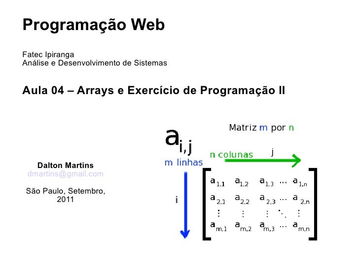 Aula 04  - Arrays e Exercício de programação II - Programação Web