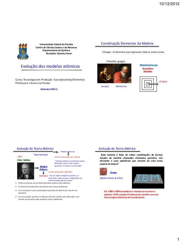 10/12/2012                         Universidade Federal da Paraíba                        Constituição Elementar da Matéri...