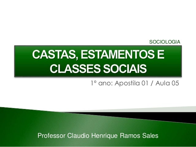 1º ano: Apostila 01 / Aula 05 Professor Claudio Henrique Ramos Sales SOCIOLOGIA